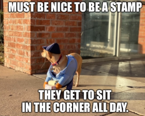 basic dog mom Dog USPS united states postal service mail Halloween Costume Meme - i wish i was a stamp and could sit in the corner all day and travel funny