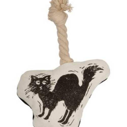 White Black Scaredy Cat Dog Toy