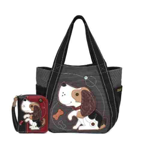 Chala Stripe Canvas CARRYALL Tote with Leather Playful Beagle Print, Gift Set for Dog Lovers (Beagle Tote and Wallet Combo)