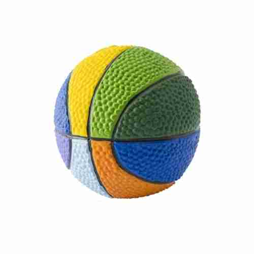 Multicolor Basketball - Squeaky Dog Toy - Soft Natural Rubber (Latex)