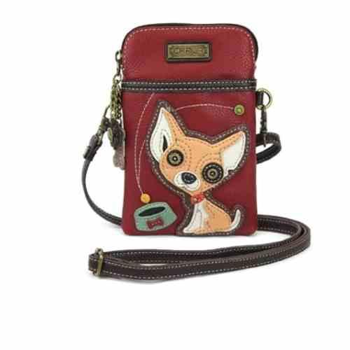 Dog Chala Crossbody Cell Phone Purse - Women PU Leather Multicolor Handbag with Adjustable Strap