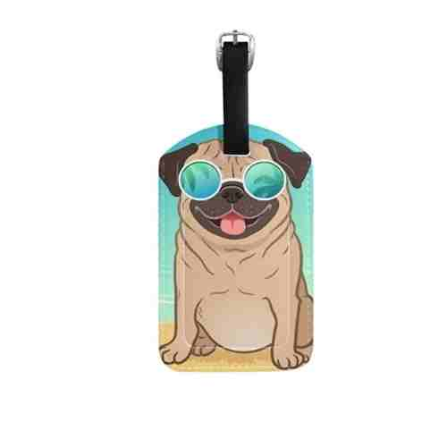 Dog mom accessories ALAZA Pug Dog Summer Beach Luggage Tag PU Leather Bag Suitcases Baggage Label 1 Piece