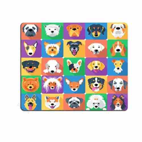 Dog Mom Office - Ambesonne Dog Lover Mouse Pad for Computers, Dog Lover Mouse Pad, Dog Breeds Profiles Pets Shepherd Terrier Labrador Domestic Animals Illustration Non-Slip Mouse pad Gaming Mouse pad