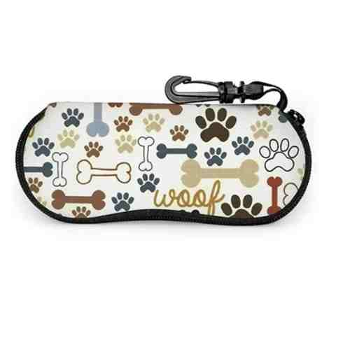antkondnm Dog Bones Paw Prints Sunglasses Soft Case with Belt Clip, Portable Glasses Case Neoprene Zipper Eyeglass Bag