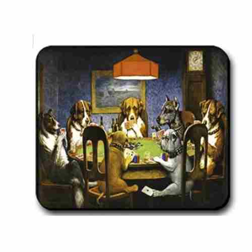 Computer Mouse Pad Dogs Playing Poker Friend 9.25 x 7.75 x 1/4 in Thick Non Slip Backing