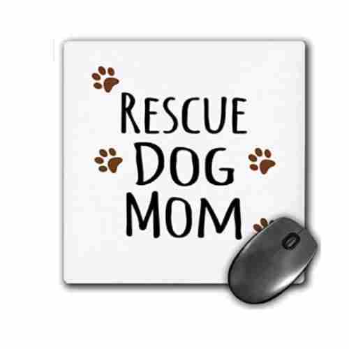 3dRose Rescue Dog Mom Doggie by Breed Muddy Brown Paw Prints Doggy Lover Proud Pet Owner Mama Love Mouse Pad