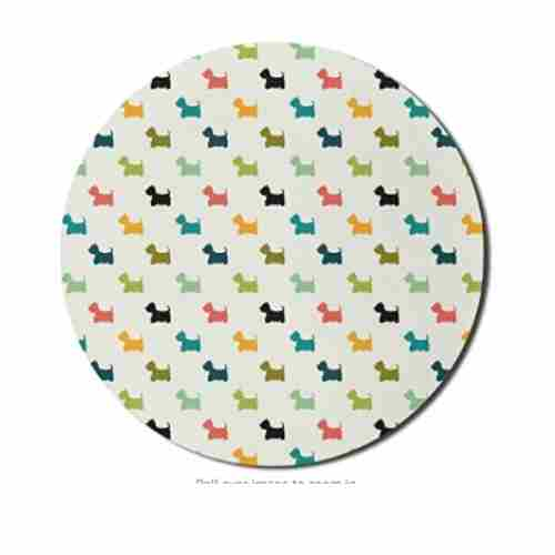 Dog Mom Office - Colorful Scottish Terrier Silhouettes Polka Dot Backdrop Purebred Animal Pattern, Round Non-Slip Thick Rubber Modern Gaming Mousepad, 8