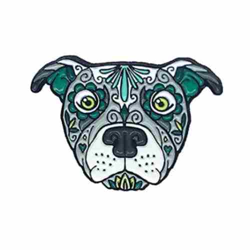 Pitbull Pitty Sugar Skull Tattoo Breed Dog Lover Enamel Lapel Pin