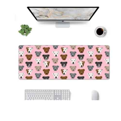 Dog Mom Office - Pitbull Dogs Pink Gaming Mouse Pad Large Design Desk Pad Computer Keyboard Mouse Mat with Non Slip Rubber Base 31.5x11.8 inch