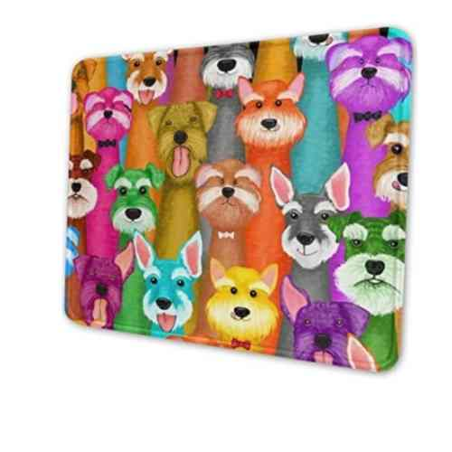 Colorful Oil Cute Schnauzer Dogs Gaming Mouse Pad with Stitched Edges, Customized Rectangle Mousepad Non-Slip Rubber Base for Computer Laptop Office Accessories 9.5 x 7.9 Inch