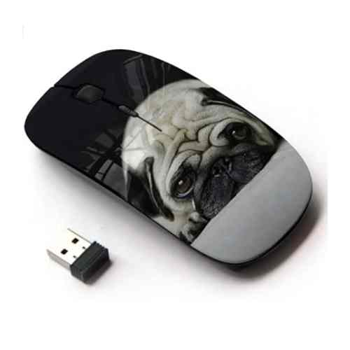 Dog Mom Office - KOOLmouse Optical 2.4G Wireless Mouse - Pug Dog Small Shorthair Big Brown Eyes
