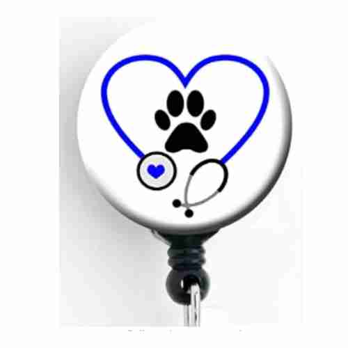 Dog Paw Heart Stethoscope - Retractable Badge Reel with Swivel Clip and Extra-Long 34 inch Cord - Badge Holder/Animal Lover/Dog Lover/Veterinarian/Vet Tech