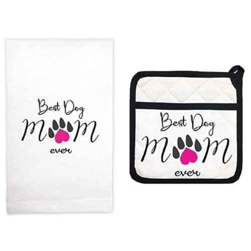 Best Dog Mom Kitchen Towel and Potholder