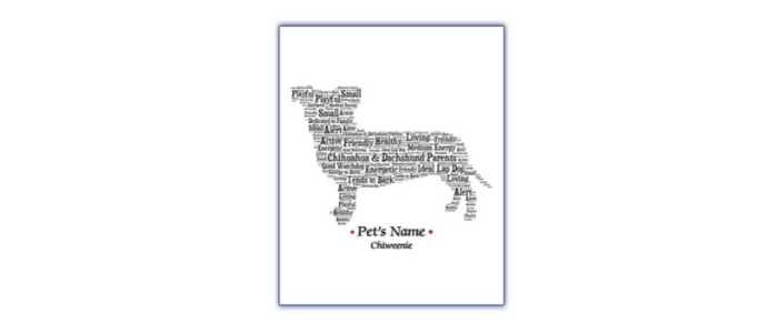Chihuahua and Chiweenie Gifts For Weiner Dog Lovers - Chiweenie Word Art Personalized Portrait