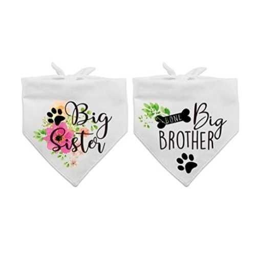 Dog Mom Gifts - Birth Announcement Dog Bandanas Big Sister Big Brother