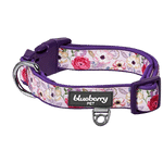 Blueberry Flower Print Padded Dog Collar