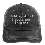 Hold My Drink Distressed Trucker Hat